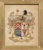 British School, 19th Century, Two Framed Coats of Arms: Sir Alfred Jodrell of Bayfield and Hyde of P