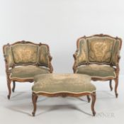 Louis XVI-style Walnut Seating Suite, with needlework upholstery, comprising two armchairs, ht. 29 1