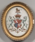 British School, 19th Century, Four Framed Heraldic Coats of Arms, Unsigned, all with Latin mottos in