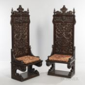Pair of Renaissance Revival Oak Chairs, late 19th/early 20th century, each with carved acanthine scr