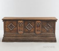 Gothic-style Walnut Chest, with a hinged lid and carved tracery panels, ht. 29 3/4, wd. 69, dp. 22 3