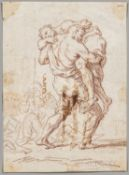 """Italian School, 18th Century, Man Carrying a Weak or Wounded Figure, Unsigned, inscribed """".../Roma"""""""
