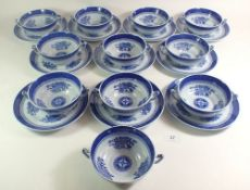 A set of eleven Spode 'Springfield' soup dishes and ten stands