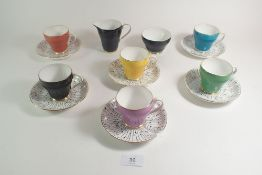 A Royal Grafton harlequin coffee service comprising: six cups and saucers, jug and bowl