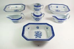 A set of three Spode Springfield rectangular serving dishes, a jug, sugar bowl and two sauce boats