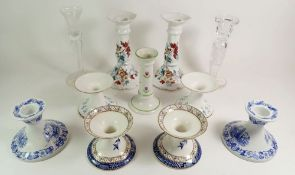 A collection of porcelain candlesticks including Royal Albert and a glass pair