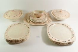 A Hollinshead & Kirkham vintage dinner service comprising: five dinner plates, six breakfast plates,