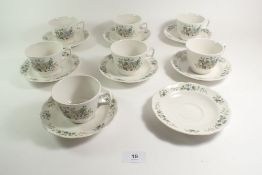 A Royal Doulton 'New Hampshire' set of seven cups and eight saucers