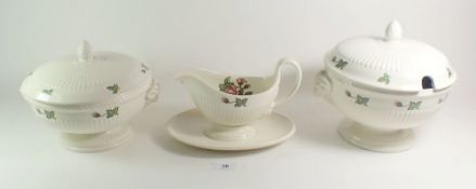 A Wedgwood Moss Rose dinner service comprising: two lidded tureens, vegetable dish, three