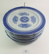 A set of thirteen Spode blue and white dinner plates