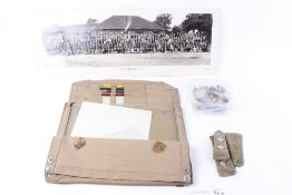 Military canvas map case with accessories; Armaments Division department photograph; qty of pips, sl
