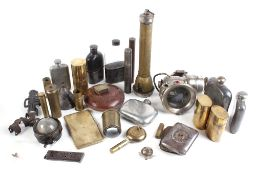 Quantity of militaria to incl. motorcycle lamp, pewter flasks, safety torch, oil bottles, cigarette