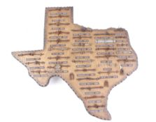 32 vintage barbed wire samples from The Old West, mounted on a wood plaque in the shape of the state