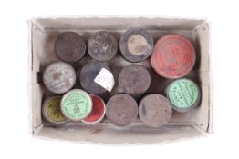 14 Original vintage cap tins, all with caps, including four Victorian lacquered tins, some by Joyce,