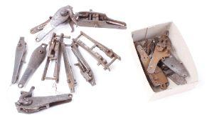Seven pairs hammer gun locks; six sidelock plates, some with mechanisms