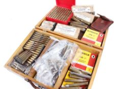 Wooden case containing various calibre inert cartridges to incl. .303 Winchester, .500-465, etc.
