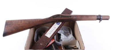 Box containing various gun locks, hammers, butt plates, Colt and other gun parts, cleaning kits, muz