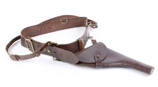 Vintage leather holster rig with brass buckle and fixings