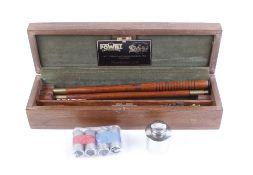 Boxed William Powell 12 bore cleaning kit, pair Lancaster 12 bore snap caps, pair Churchill 12 bore