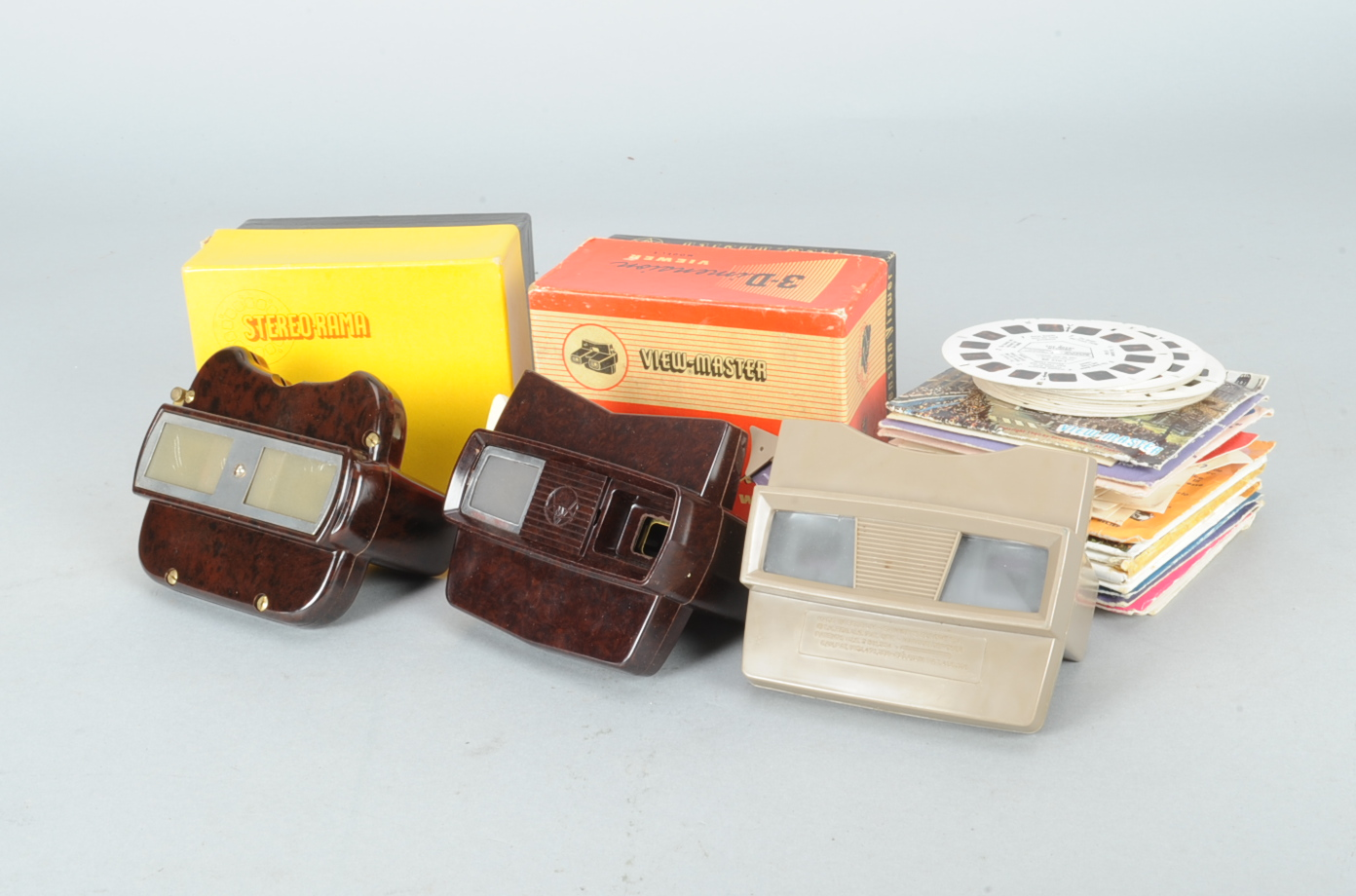 Lot 109 - View-Master 3-D Viewers and Reels, two Sawyer's View-Master stereoscopic viewers, one boxed, a
