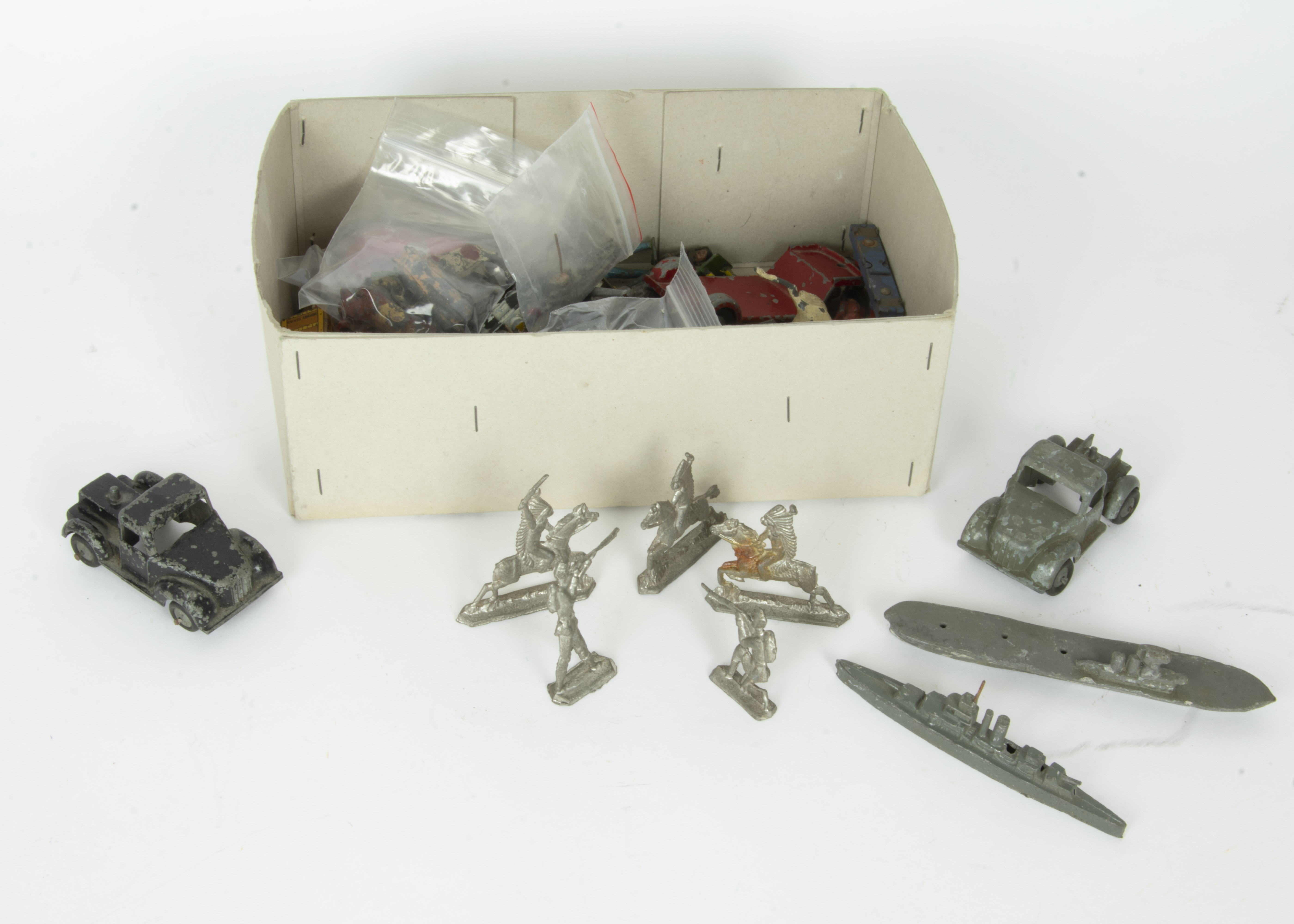 Lot 232 - Various Die-cast Vehicles Street Furniture Lead Soldiers and other items, Timpo trucks, one with low