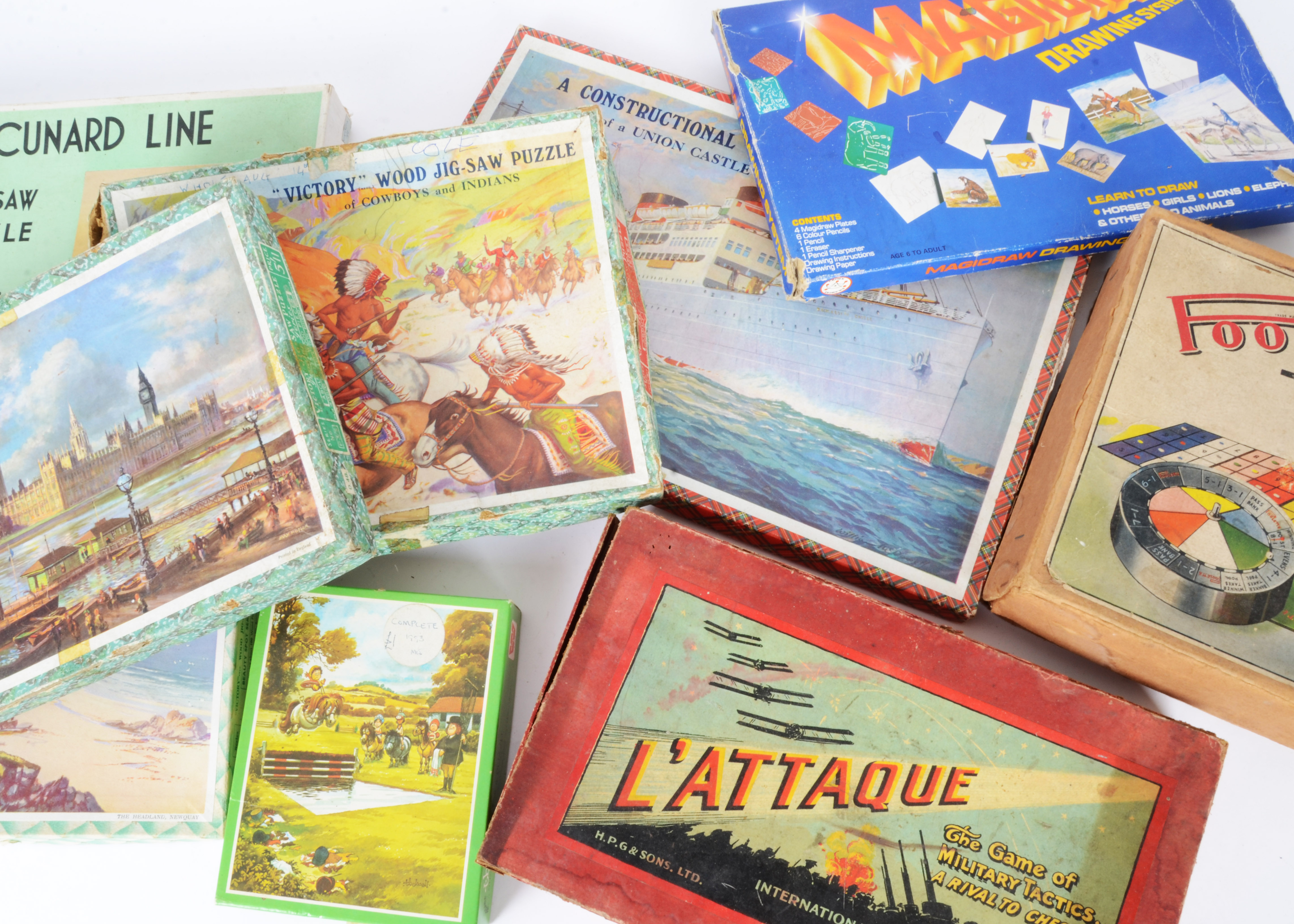 Lot 234 - Various pre and post war Toys Games and Jigsaws, Poolette Roulette, HPG L'Attaque, Peter Rabbit Race