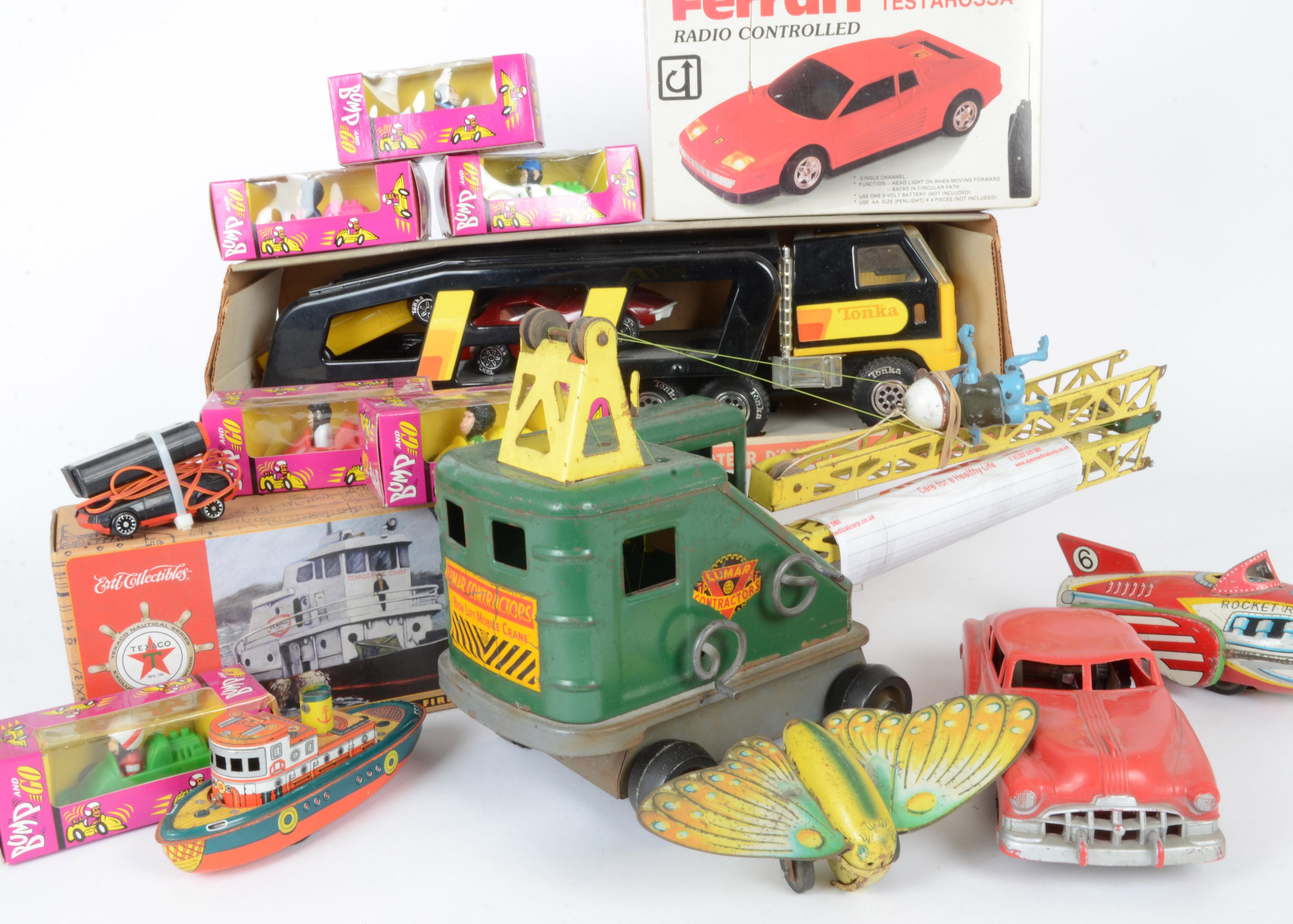 Lot 233 - Tonka Marks steel toys various Tin Toys and Brooke Bond Bump and Go vehicles, Tonka 1934 Car