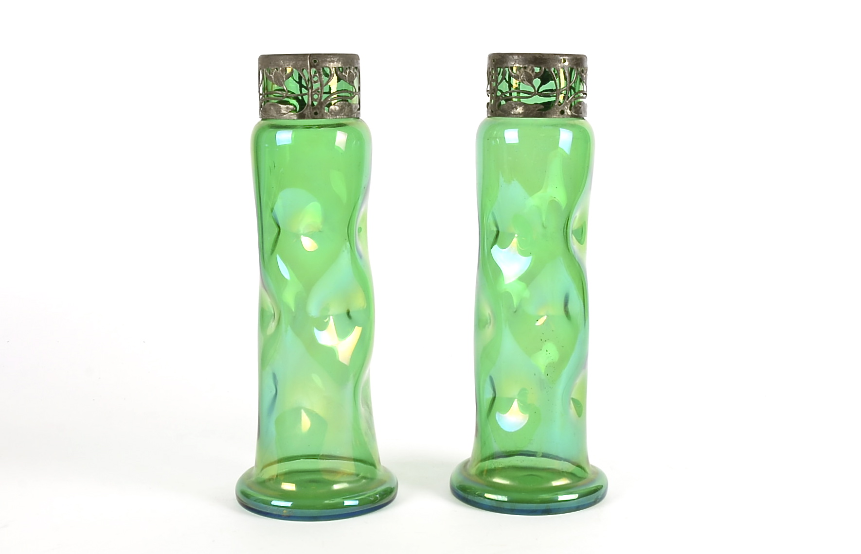 Lot 1 - A pair of Art Nouveau green glass metal mounted glug vases, with organic motifs, height 30cm