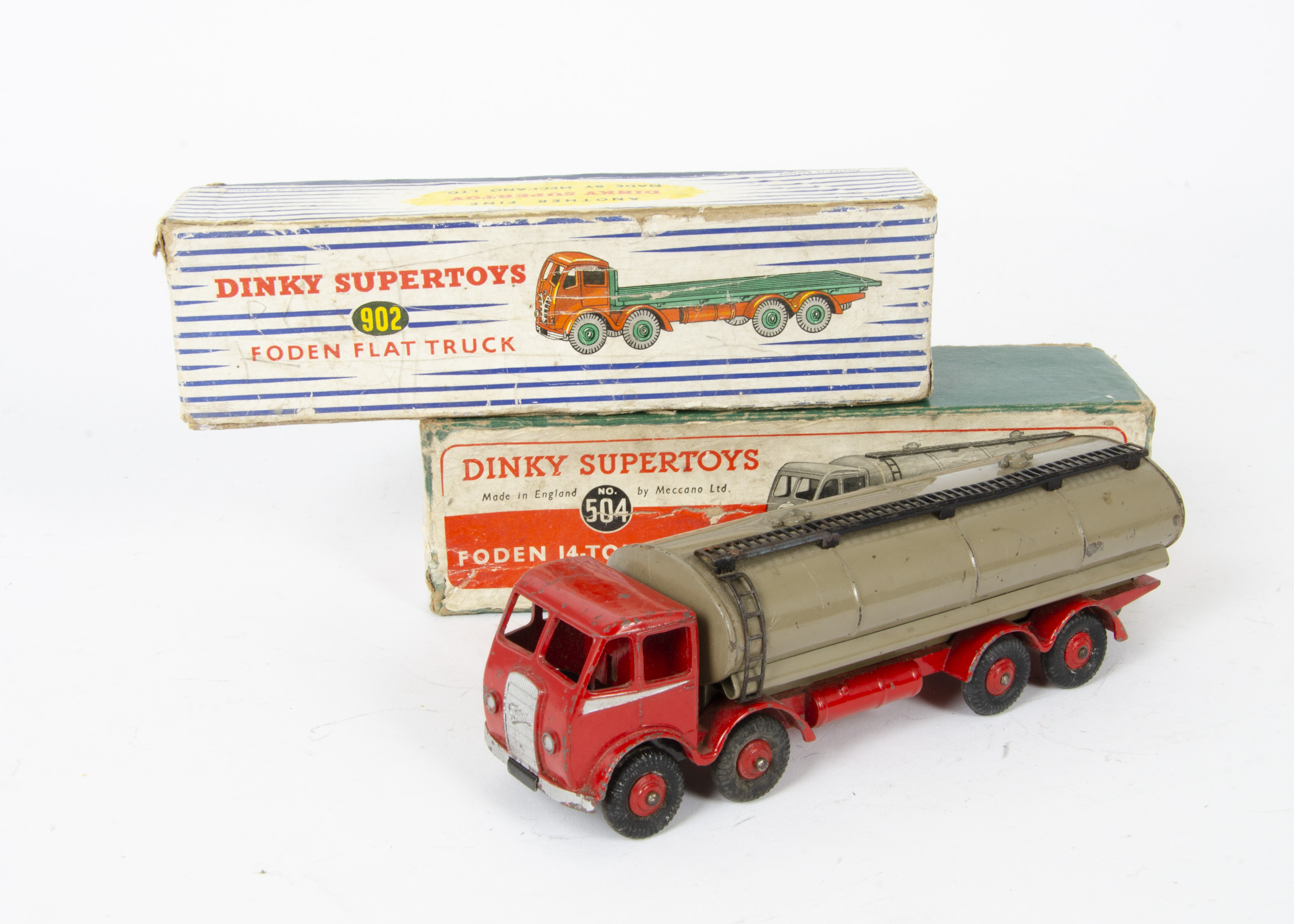 Lot 38 - Dinky Toy Foden Trucks, 504 Foden 14-Ton Tanker, 1st type red cab, chassis and hubs, silver flash,