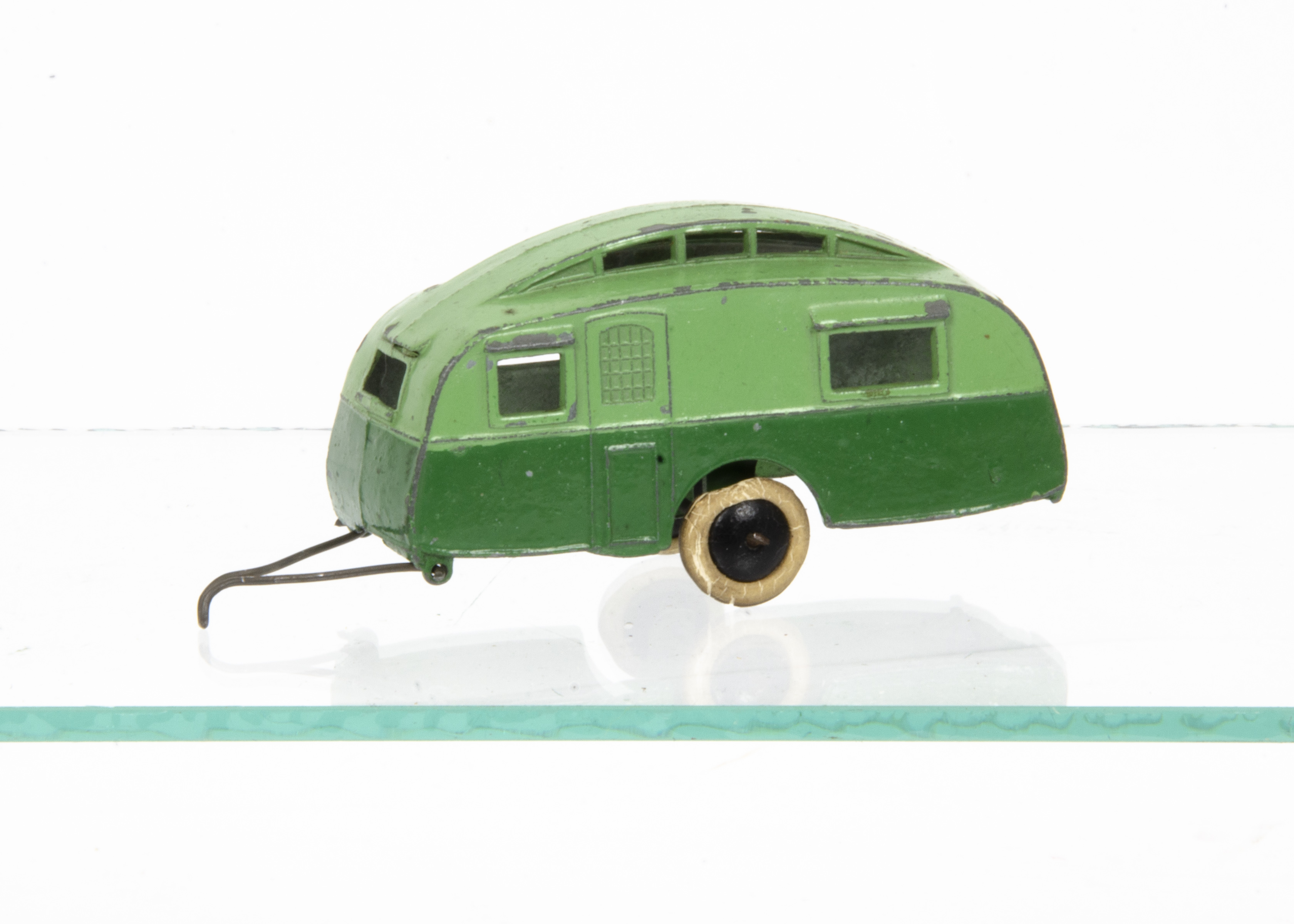 Lot 4 - A Pre-War Dinky Toys 30g Caravan, two-tone green body, black smooth hubs, wire drawbar, F, drawbar