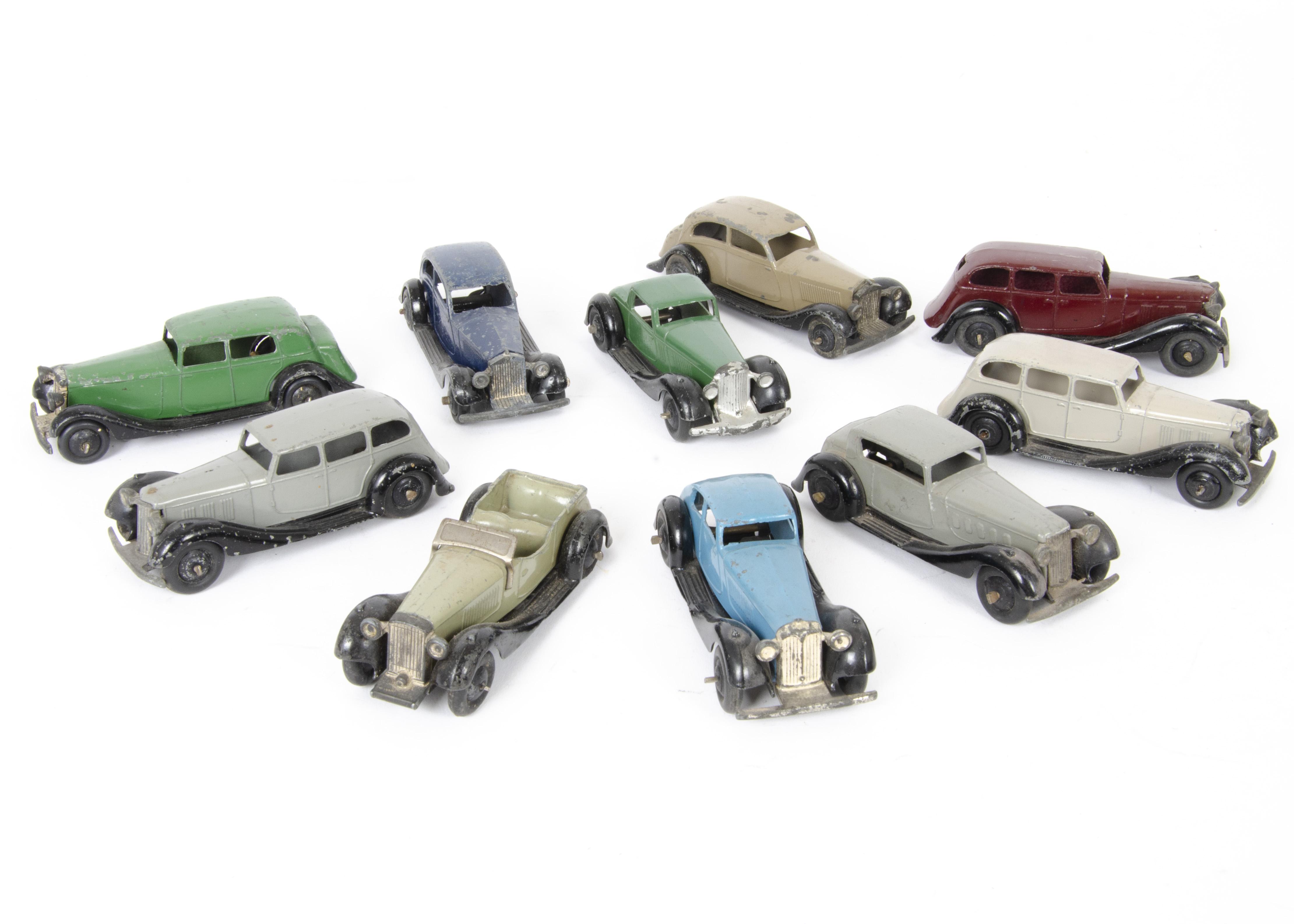 Lot 7 - Dinky Toy 30 & 36 Series Cars, 30b Rolls-Royce (2), first dark blue body, second fawn body, 30c
