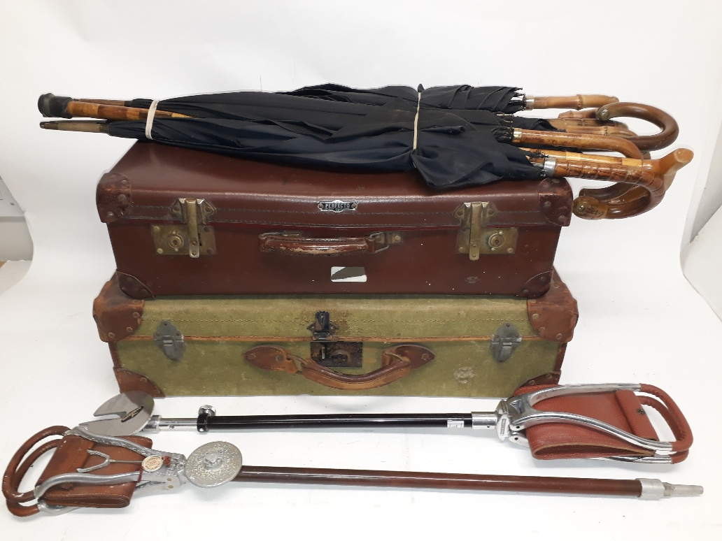 Lot 185 - Vintage Suitcases, Shooting Sticks and Umbrellas, a 'De-Mob' canvas and leather suitcase, 'Perfecto'