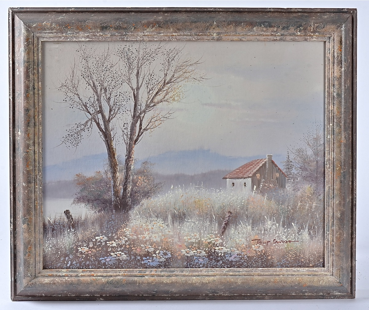 Lot 220 - Philip Sandee 20th Century oil on board, flower field surrounding a tree and cottage with