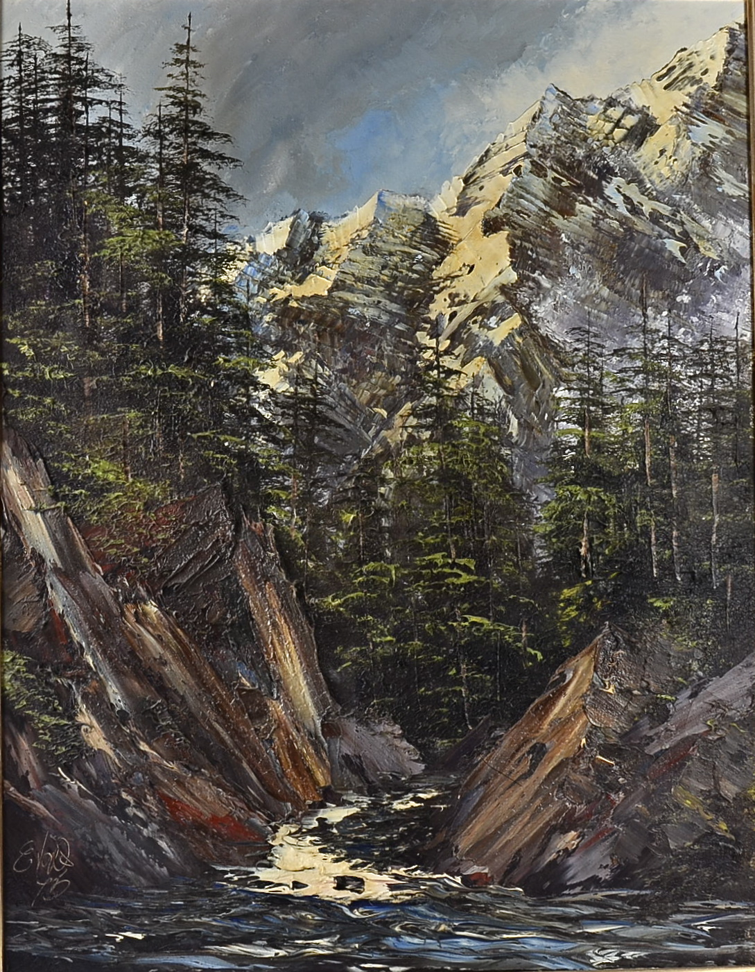 Lot 221 - A pair of 20th Century mixed media on canvas paintings, both depicting mountain gorges, both