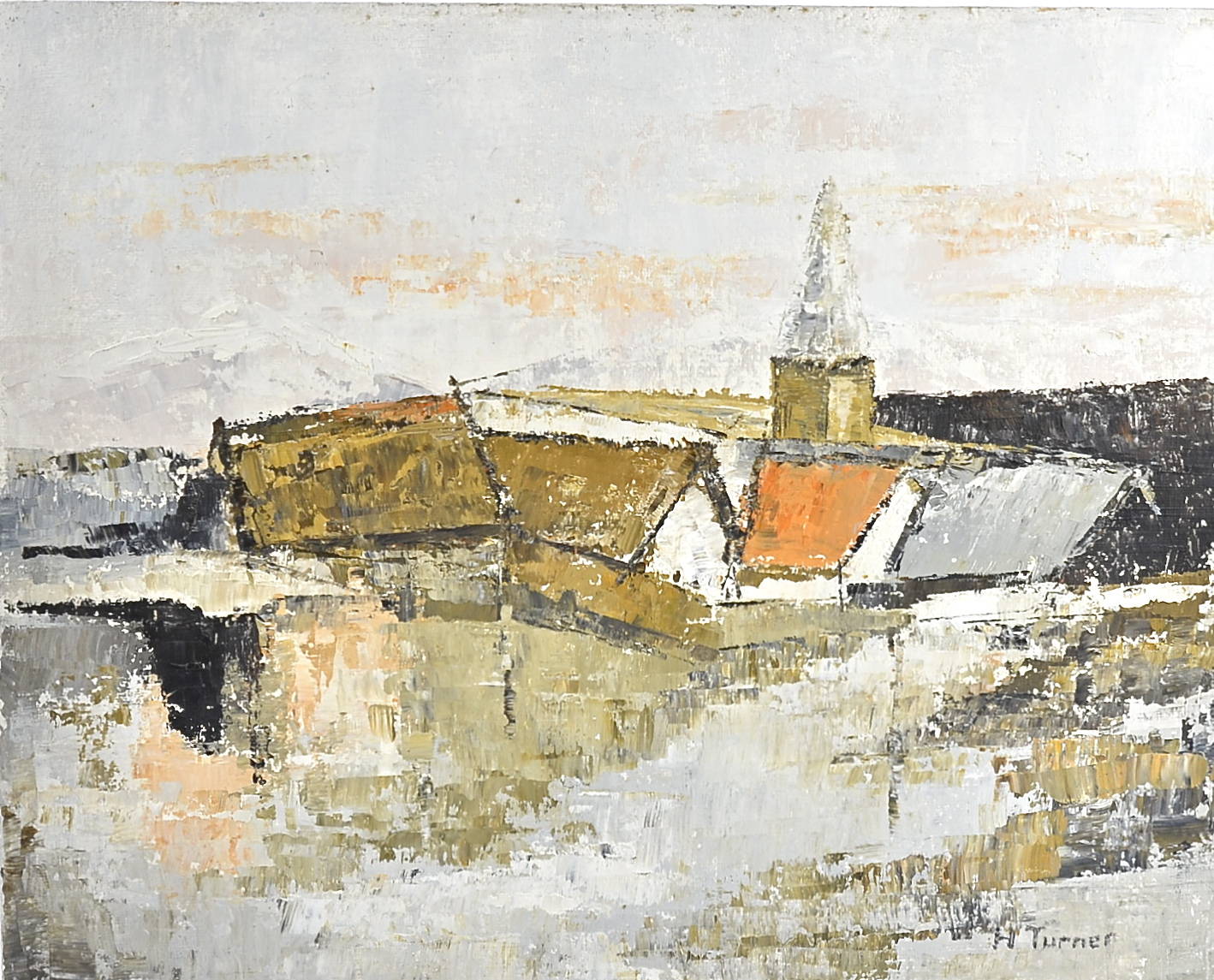 Lot 222 - Five contemporary paintings, including a G. F. Roberts mixed media on board, titled, signed and