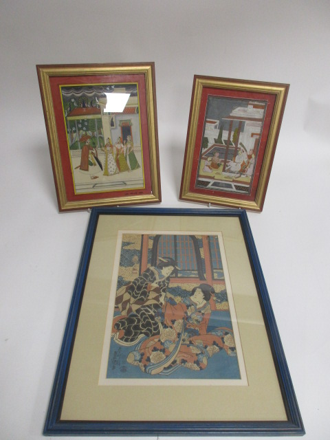 Lot 212 - A Japanese woodblock print of two ladies in kimonos, framed and glazed by the Rowley Gallery, 36cm x