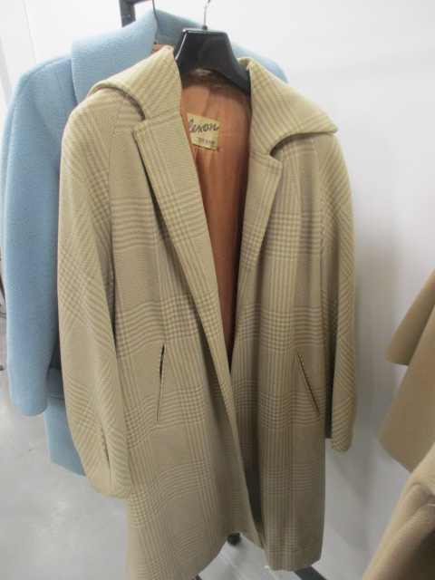 Lot 17 - Ladies vintage coats, including a Jaeger of London navy blue woollen belted coat, a Elmorata light