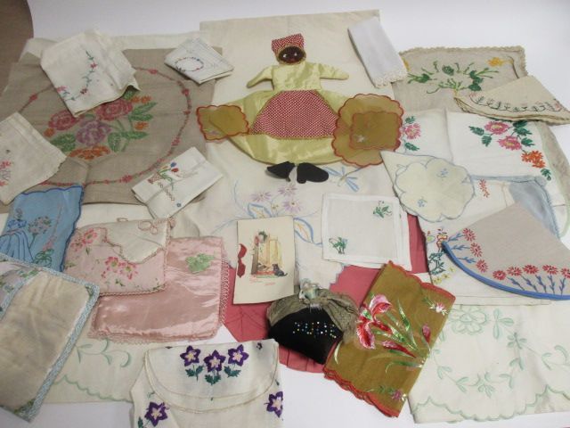 Lot 20 - A collection of 1940s & 1950s textiles, including a velvet pyjama case, hand embroidered