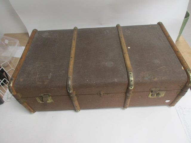 Lot 197 - A green vintage travel trunk with Shaw Savill Line shipping label Southampton, 91cm x 50cm x 28cm,