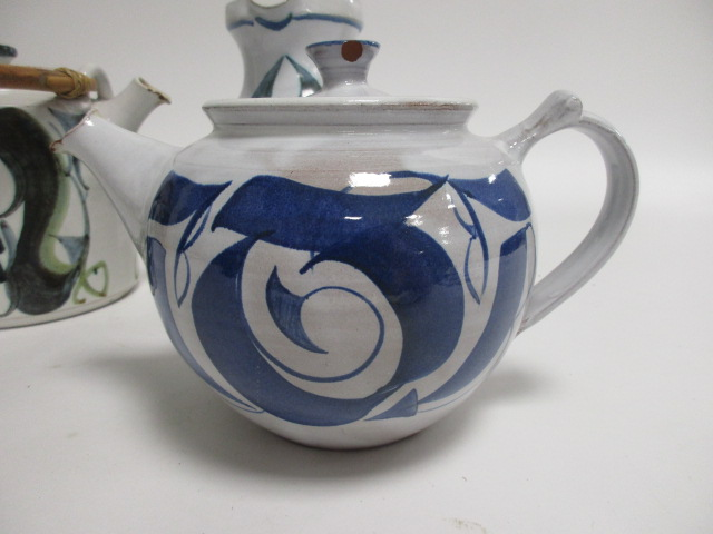 Lot 5 - Three pieces of Aldermaston pottery, including an Alan Caiger-Smith jug, height 18cm and teapot