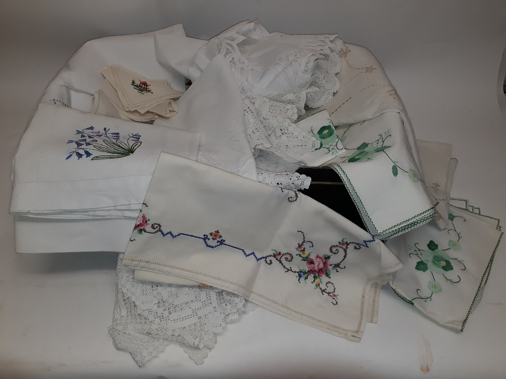 Lot 186 - Vintage Linen and Lace, two boxes of vintage table linen and lace including floral embroidered