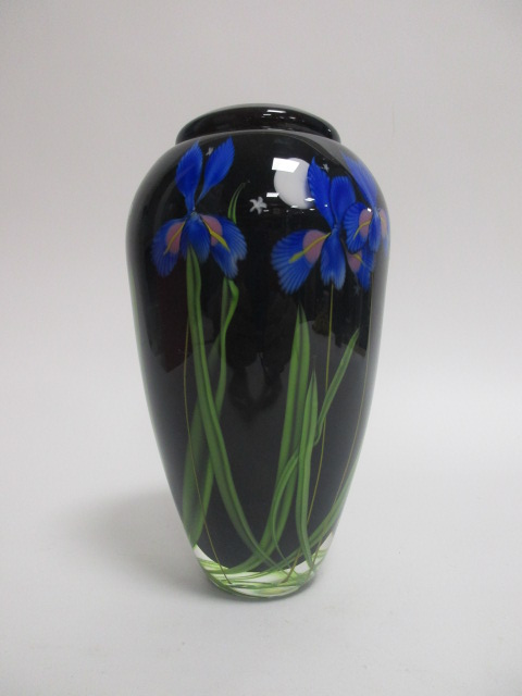 Lot 163 - A contemporary art glass vase with encased irises, indistinctly signed to base with artist's name