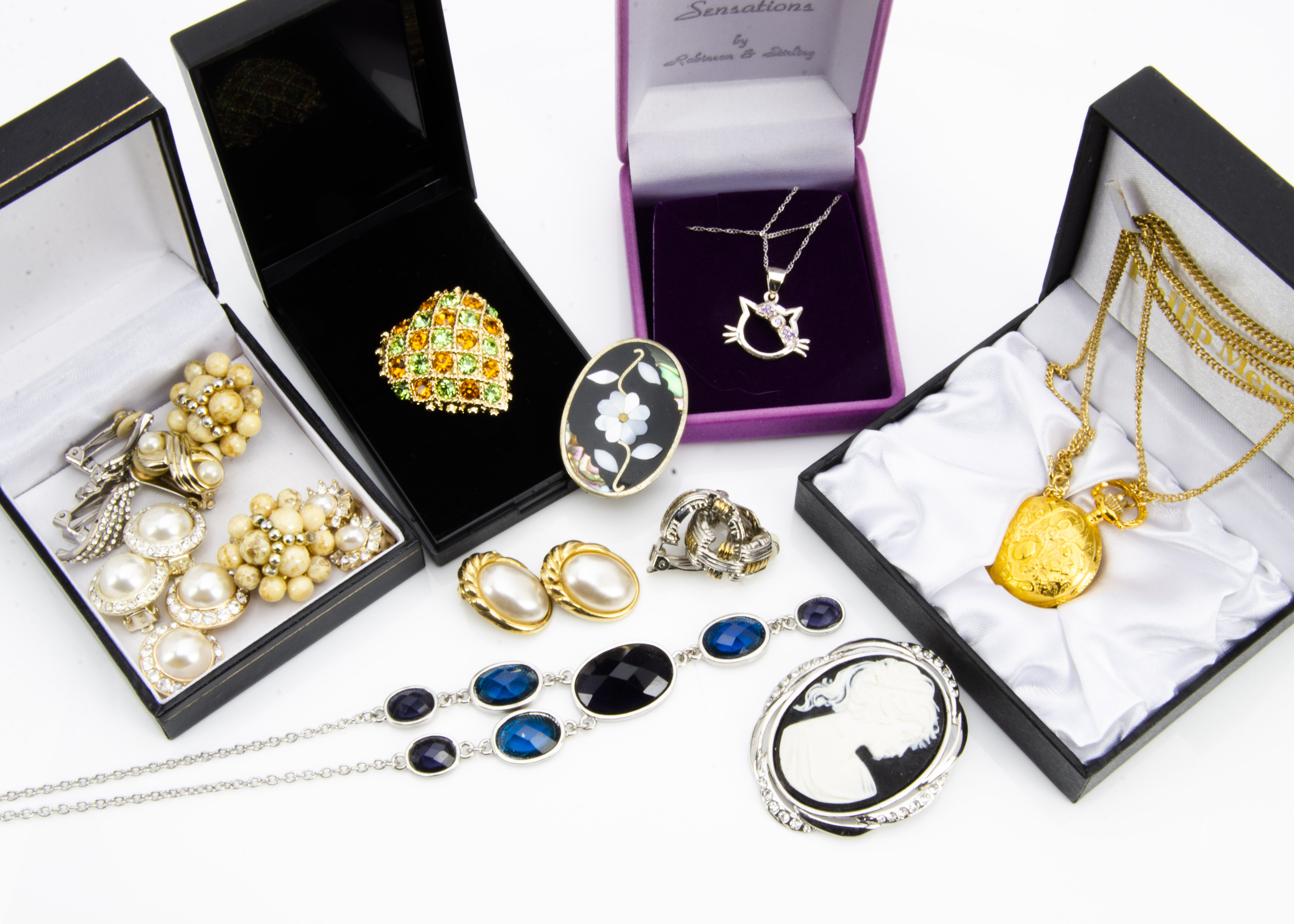 Lot 270 - A large collection of costume jewellery, including silver gem set rings, a collection of novelty and