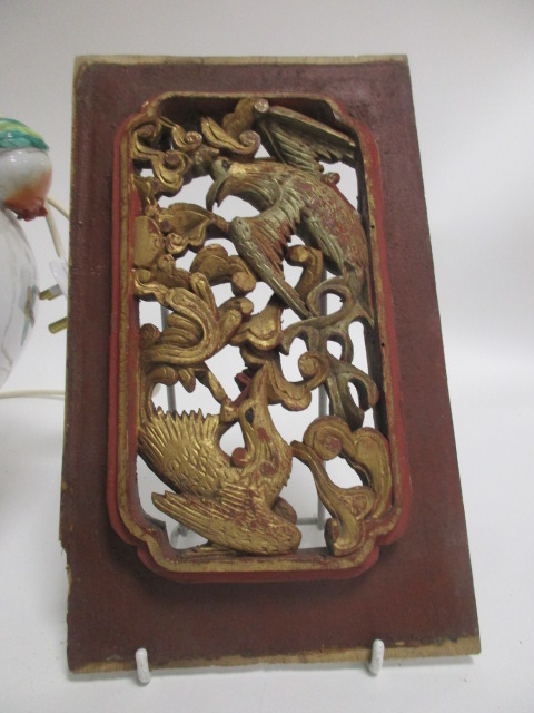 Lot 211 - A contemporary Asian lamp base, decorated with butterflies and foliage upon a white ground, the