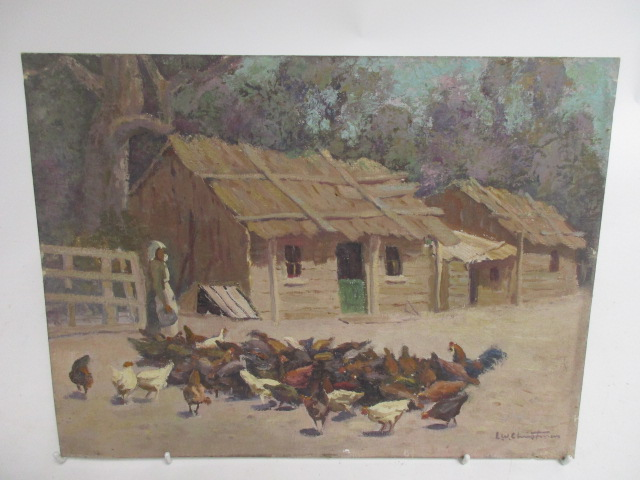 Lot 224 - A 20th Century oil on canvas stretched on board, chickens in a farmyard, indistinct signature (lower