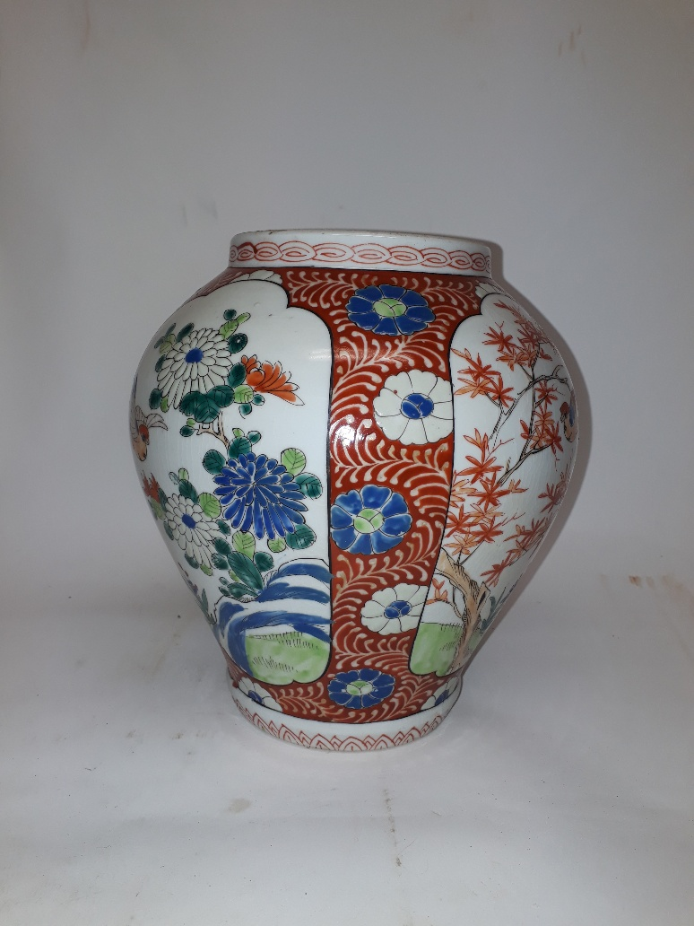 Lot 191 - Nineteenth Century Chinese Vase, of ovoid form with floral red decoration surrounding four panels