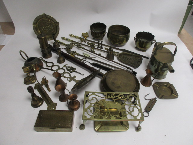 Lot 54 - A group of 20th Century metalwares, to include a stag design stand, Welsh reproduction miners