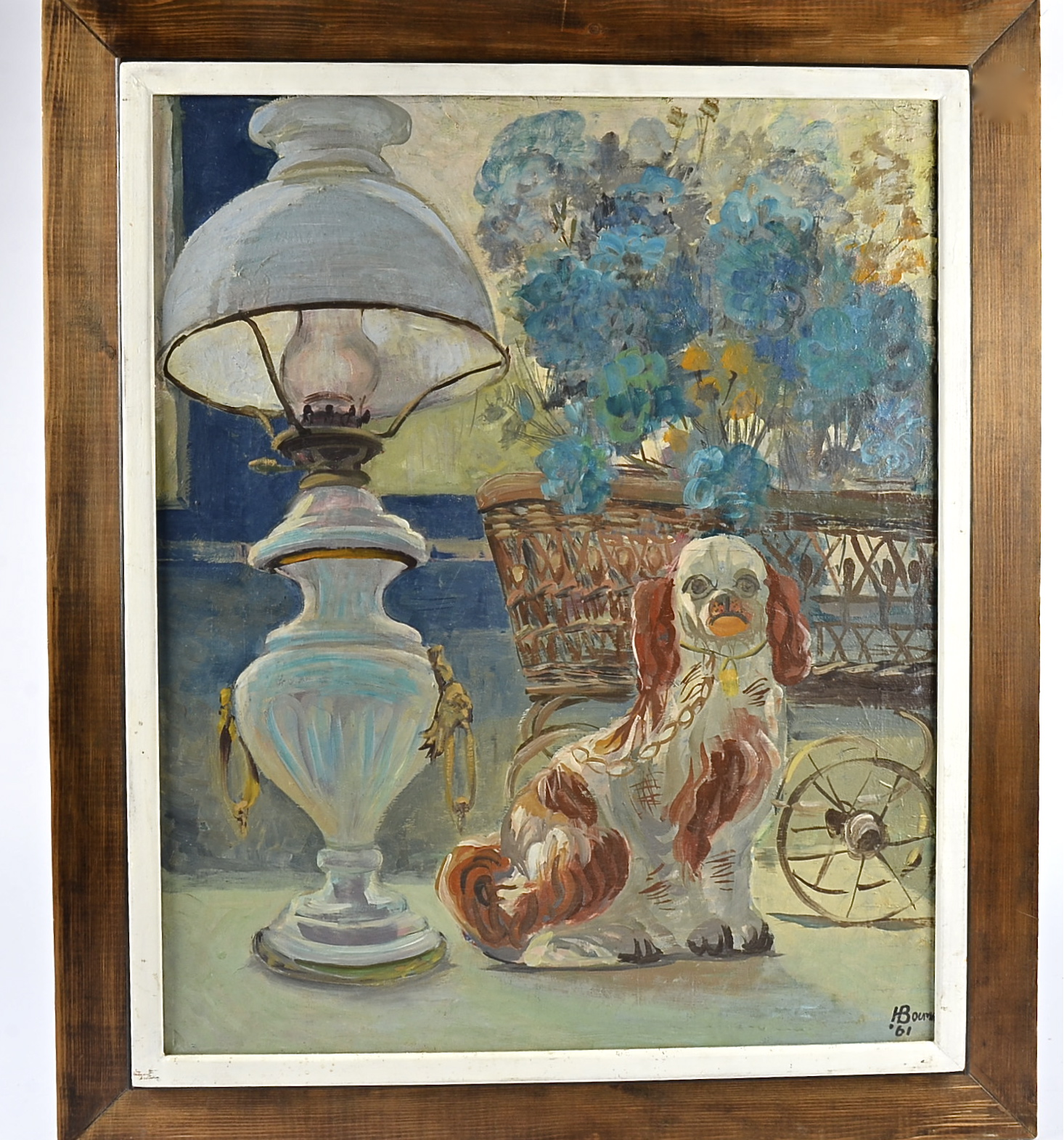 Lot 223 - 20th Century oil on canvas, ceramic model of a Cavalier King Charles spaniel and lamp and flower