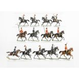 A mixture of German made mounted figures consisting of repainted 48mm scale lancers in red (4), 48mm