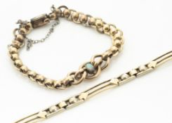 A 14ct gold bracelet, the two colour gold with pierced baton links, 16g, (af) together with a gilt